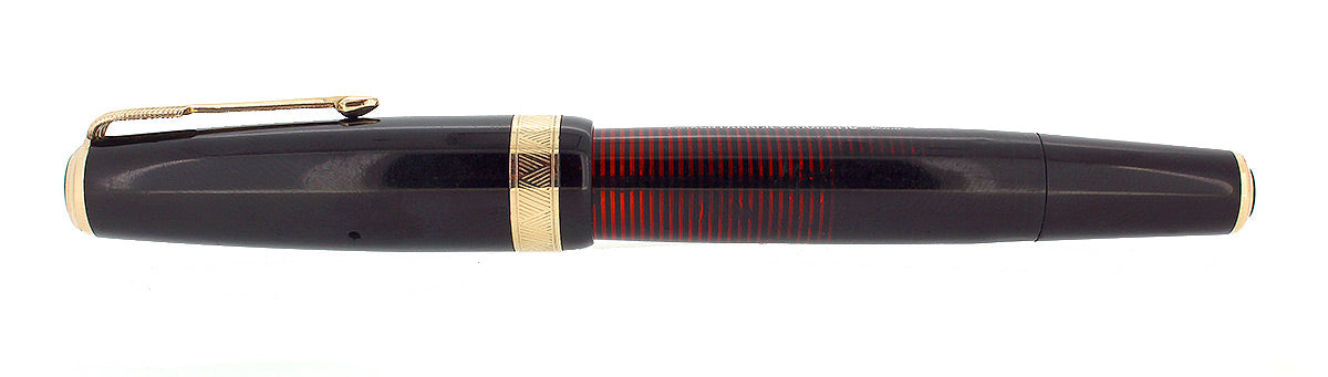 1941 PARKER VACUMATIC SENIOR MAXIMA JET BLACK DOUBLE JEWEL FOUNTAIN PEN RESTORED OFFERED BY ANTIQUE DIGGER
