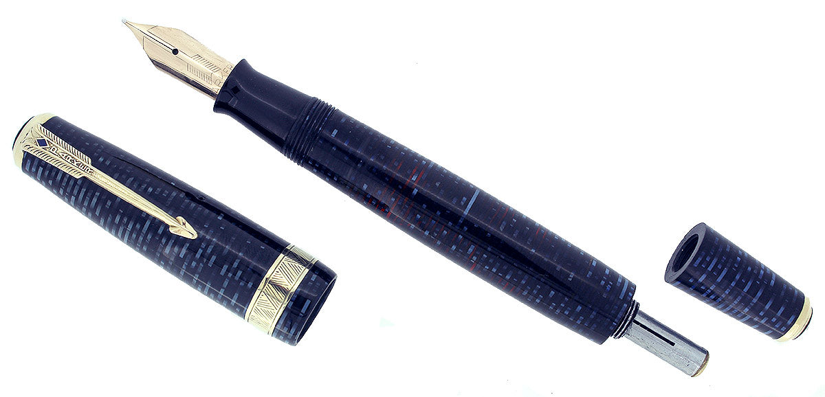 SCARCE 1941 PARKER VACUMATIC SENIOR MAXIMA AZURE PEARL DJ FOUNTAIN PEN RESTORED OFFERED BY ANTIQUE DIGGER