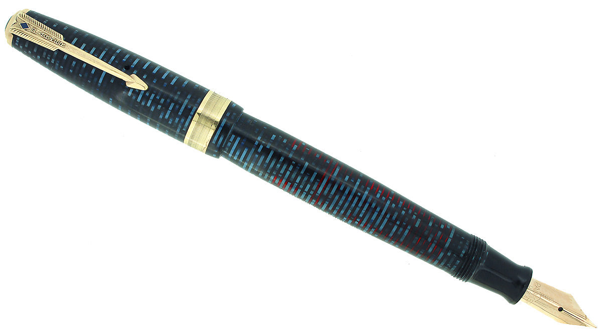 1941 PARKER AZURE VACUMATIC DOUBLE JEWEL JEWELER CAP BAND FOUNTAIN PEN RESTORED OFFERED BY ANTIQUE DIGGER