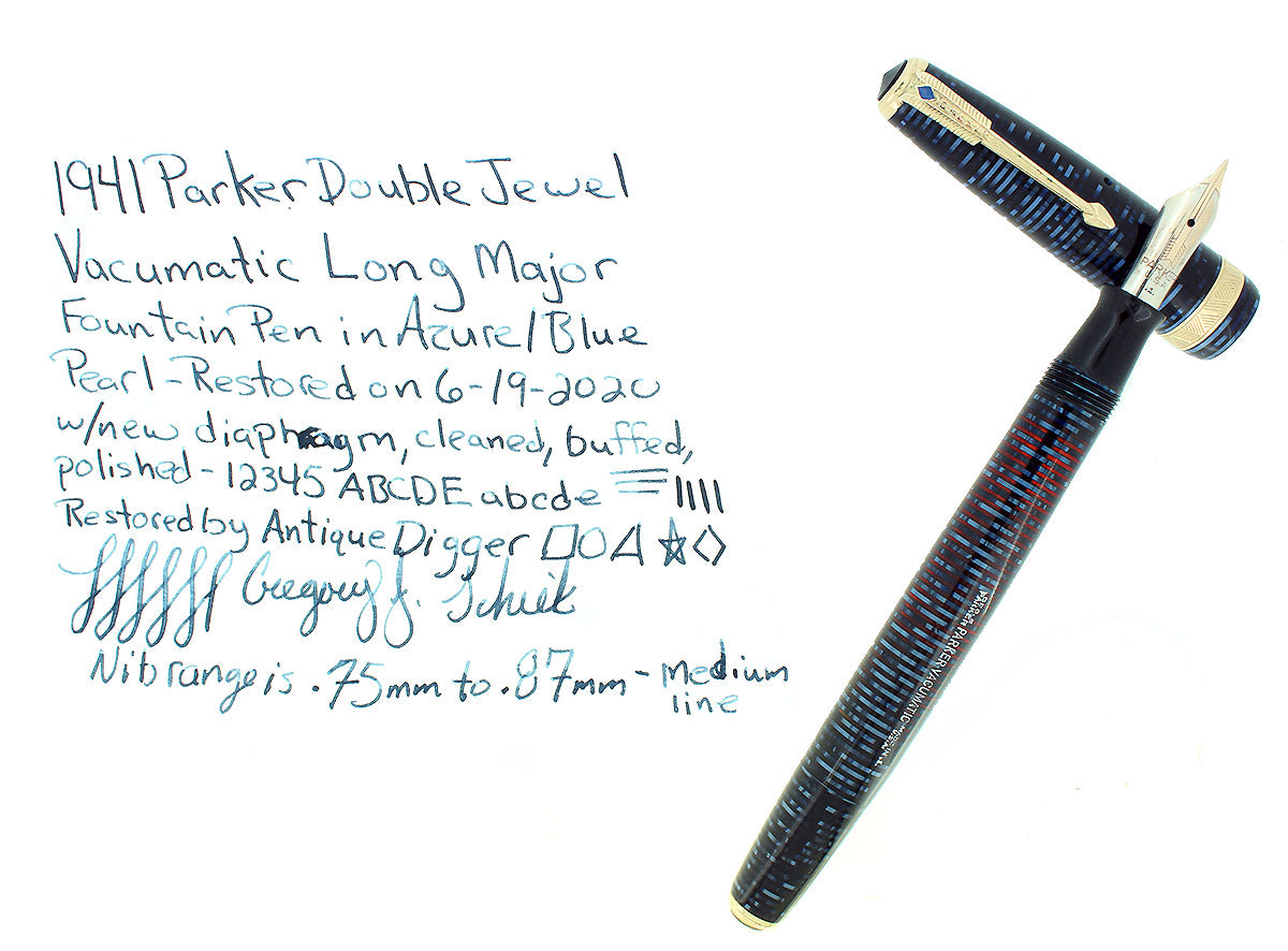 1941 PARKER VACUMATIC LONG MAJOR AZURE PEARL DOUBLE JEWEL FOUNTAIN PEN RESTORED OFFERED BY ANTIQUE DIGGER