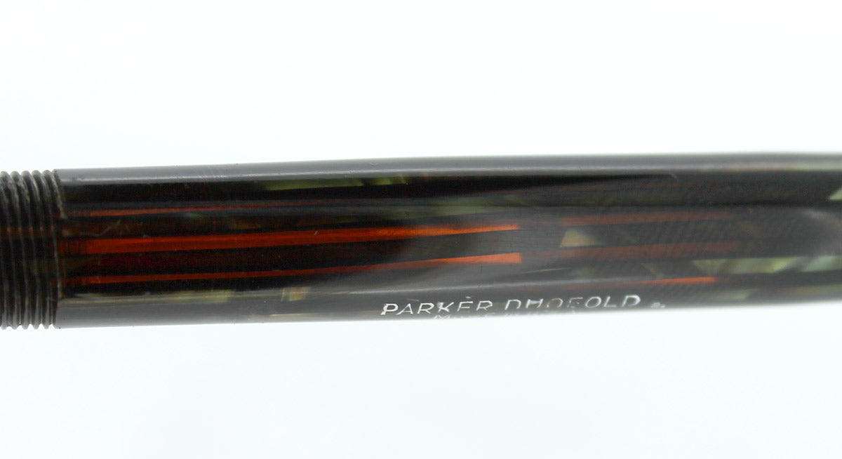 1942 PARKER DUOFOLD GREEN GOLD CELLULOID FOUNTAIN PEN MAJOR SIZE RESTORED OFFERED BY ANTIQUE DIGGER