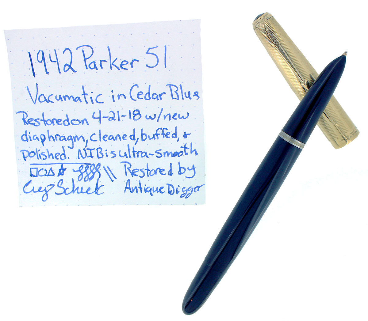 1942 PARKER 51 SINGLE JEWEL CEDAR BLUE VACUMATIC FOUNTAIN PEN RESTORED OFFERED BY ANTIQUE DIGGER