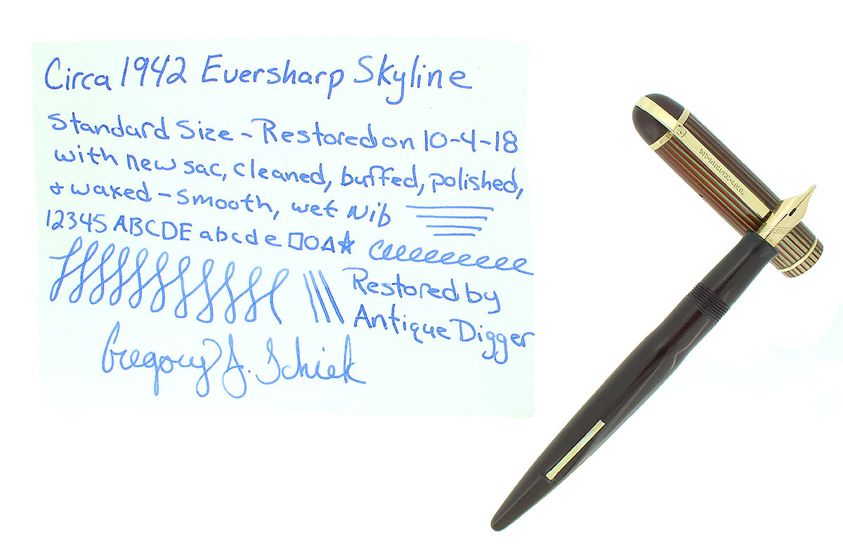 CIRCA 1942 EVERSHARP SKYLINE STANDARD SIZE FOUNTAIN PEN SMOOTH NIB RESTORED OFFERED BY ANTIQUE DIGGER