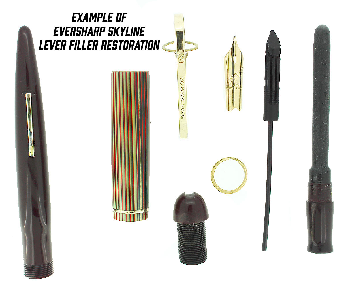 LEVER OR BUTTON FILLER FOUNTAIN PEN REPAIR OFFERED BY ANTIQUE DIGGER - EXAMPLE OF EVERSHARP SKYLINE