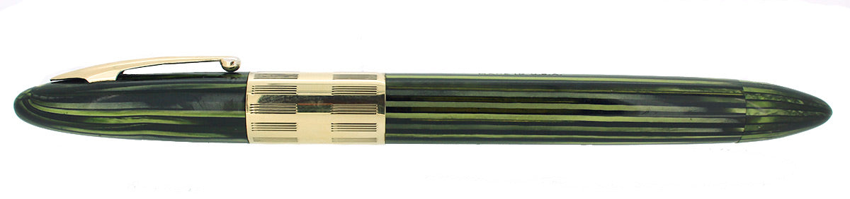 C1942 SHEAFFER MARINE GREEN TRIUMPH LIFETIME FOUNTAIN PEN PLUNGER FILL RESTORED OFFERED BY ANTIQUE DIGGER