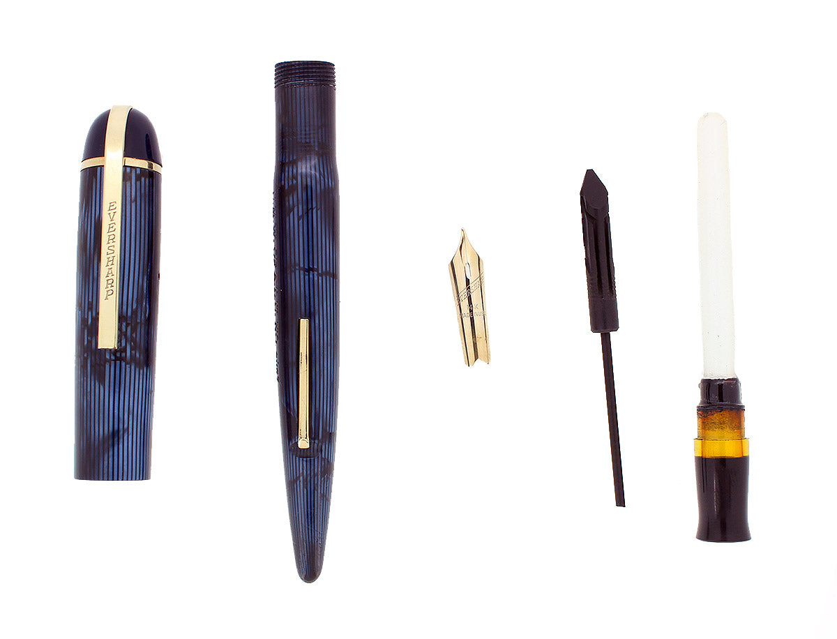 CIRCA 1943 EVERSHARP SKYLINE BLUE MOIRE CELLULOID FOUNTAIN PEN RESTORED OFFERED BY ANTIQUE DIGGER