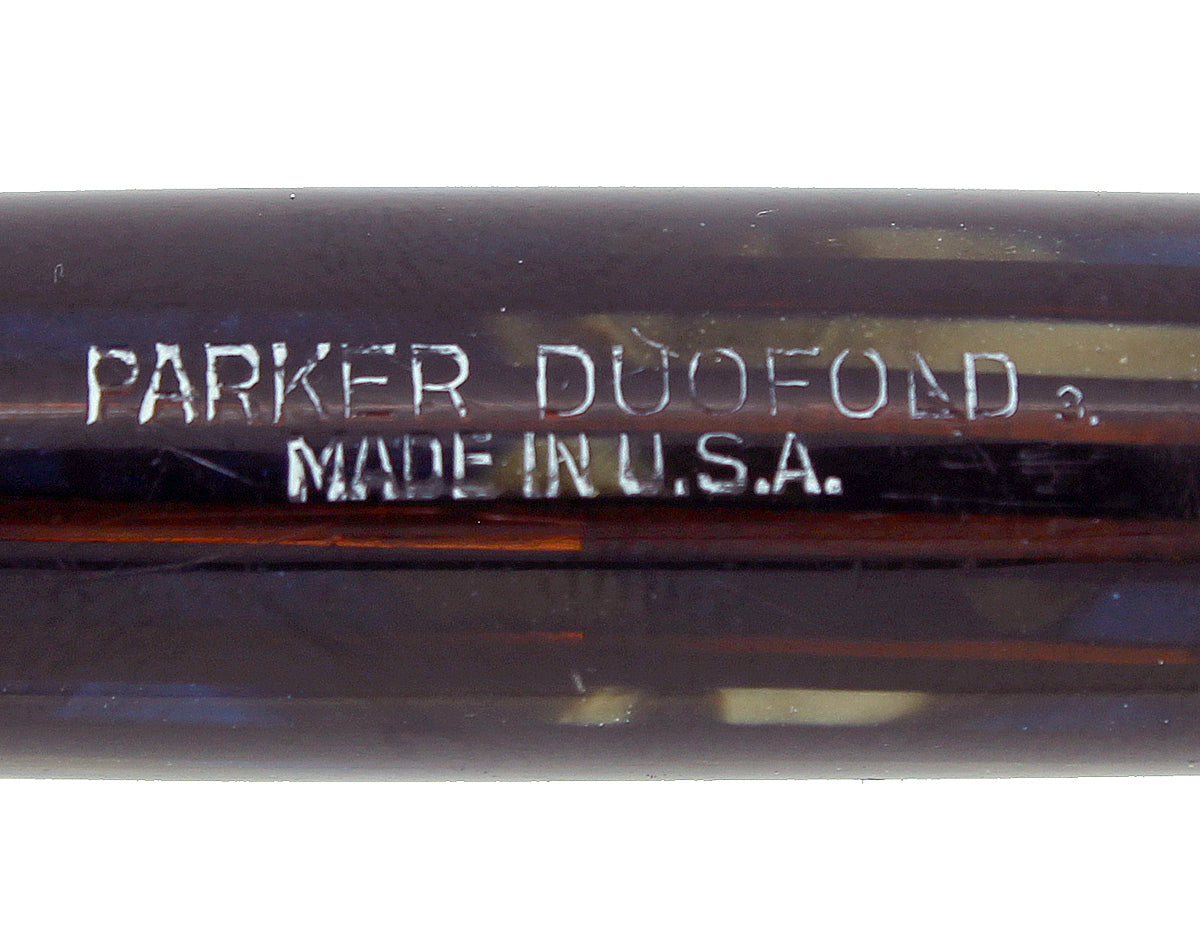 1943 PARKER SENIOR DUOFOLD STRIPED BLUE GRAY CELLULOID FOUNTAIN PEN RESTORED OFFERED BY ANTIQUE DIGGER