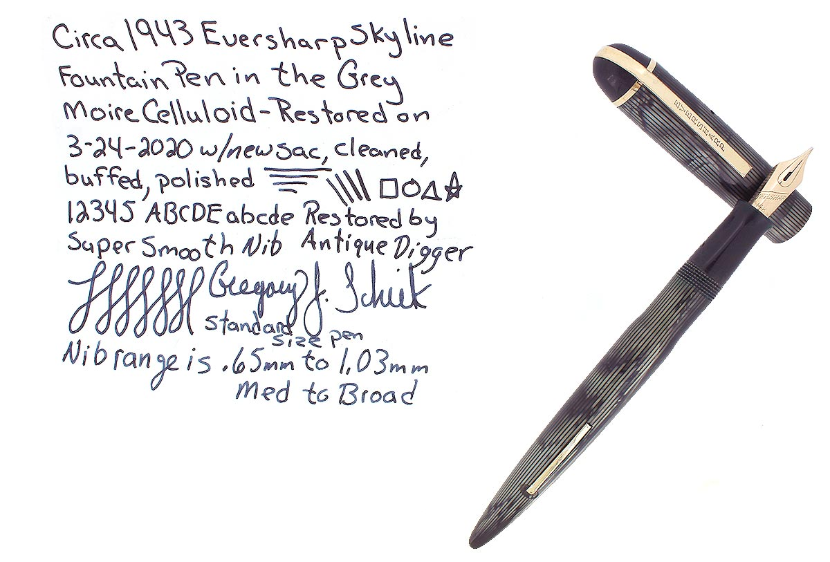 C1943 EVERSHARP SKYLINE GRAY MOIRE CELLULOID FOUNTAIN PEN RESTORED SMOOTH NIB OFFERED BY ANTIQUE DIGGER