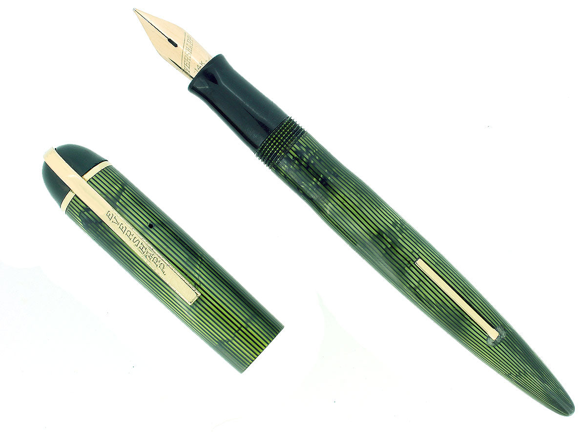 C1943 EVERSHARP SKYLINE EMERALD GREEN MOIRE CELLULOID FOUNTAIN PEN RESTORED SMOOTH NIB OFFERED BY ANTIQUE DIGGER