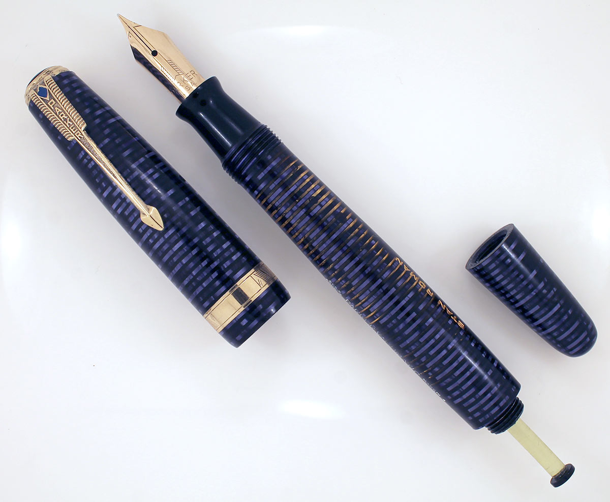 1944 PARKER AZURE PEARL VACUMATIC MAJOR FOUNTAIN PEN NEAR MINT CONDITION AND RESTORED OFFERED BY ANTIQUE DIGGER