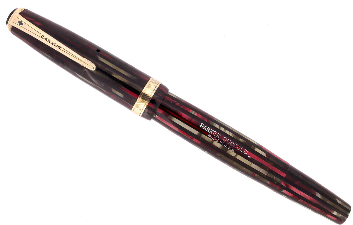 1944 PARKER STRIPED SENIOR DUOFOLD DUSTY ROSE CELLULOID FOUNTAIN PEN RESTORED OFFERED BY ANTIQUE DIGGER
