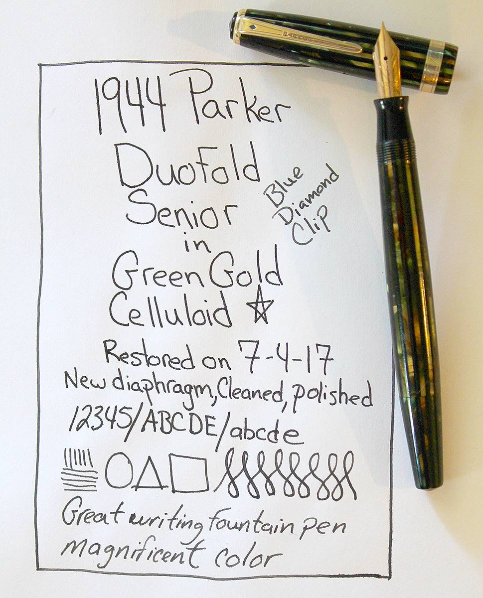 RESTORED 1944 PARKER DUOFOLD SENIOR FOUNTAIN PEN IN THE GREEN GOLD CELLULOID WITH V NIB OFFERED BY ANTIQUE DIGGER