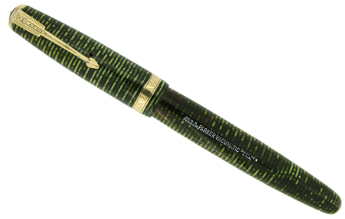 1944 PARKER EMERALD PEARL VACUMATIC MAJOR FOUNTAIN PEN GORGEOUS COLOR RESTORED OFFERED BY ANTIQUE DIGGER