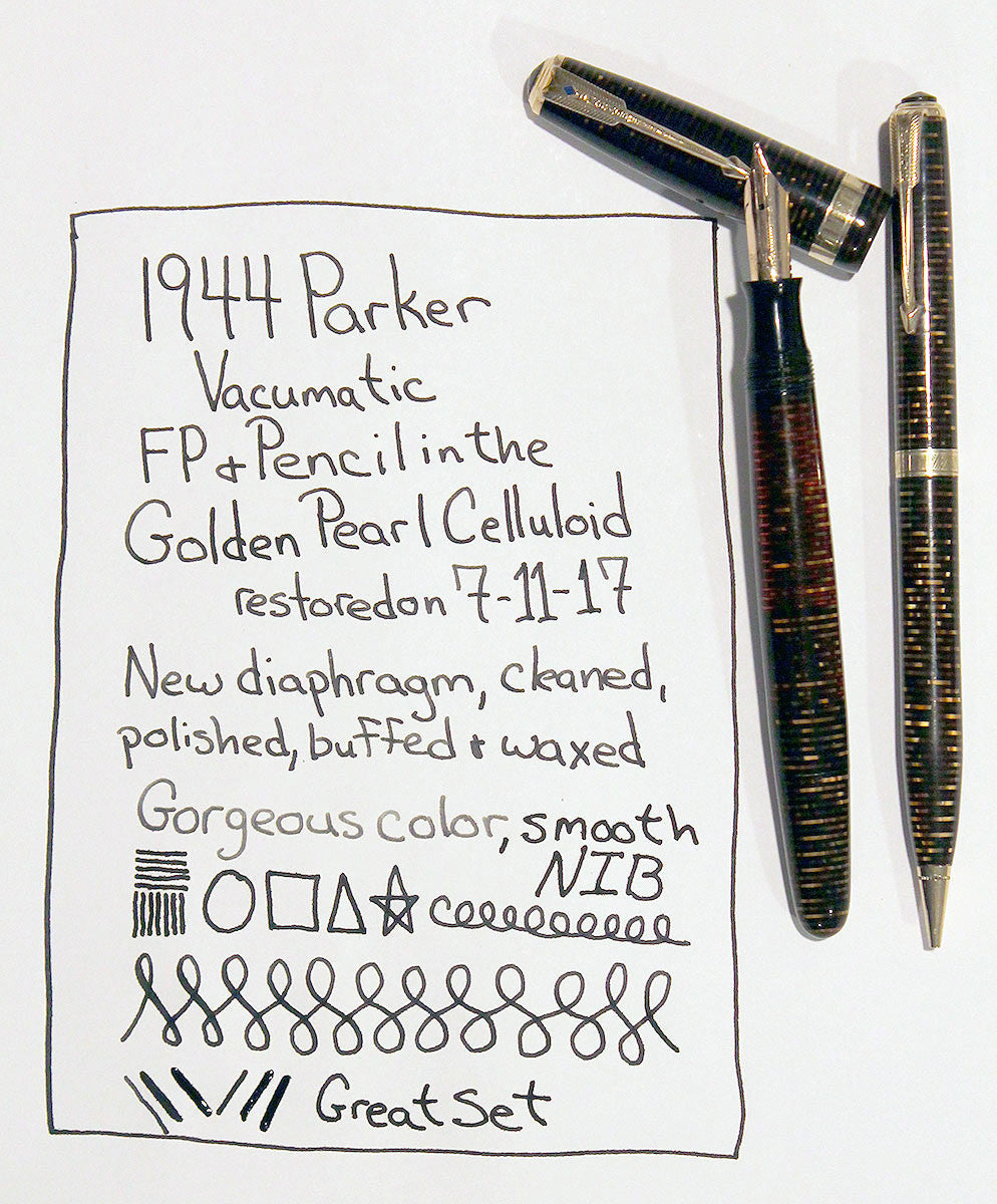 1944 PARKER GOLDEN PEARL VACUMATIC FOUNTAIN PEN & PENCIL SET RESTORED OFFER BY ANTIQUE DIGGER