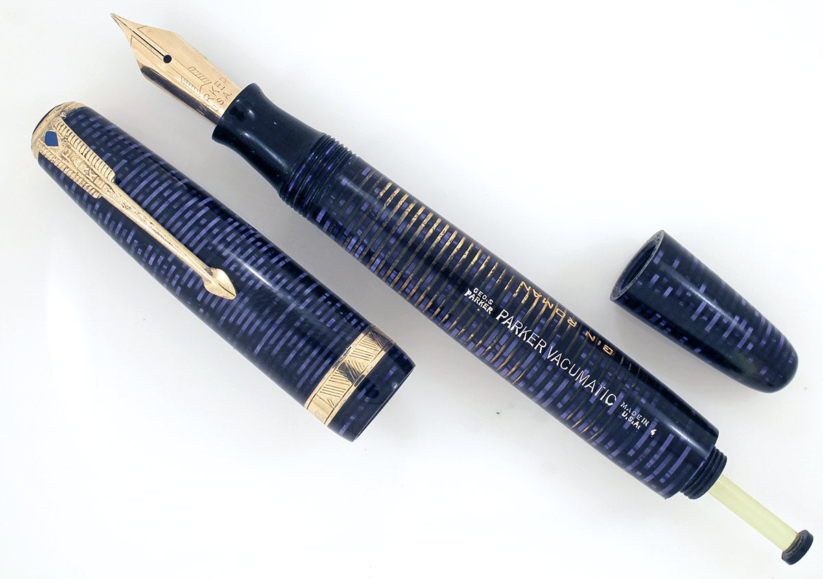 1944 PARKER AZURE PEARL VACUMATIC MAJOR FOUNTAIN PEN NEAR MINT CONDITION AND RESTORED