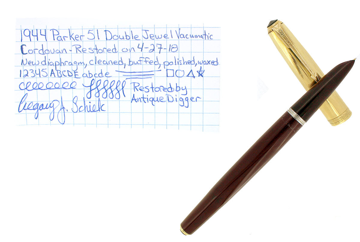 RESTORED 1944 PARKER 51 DOUBLE JEWEL WITH 1/10 16K GOLD FILLED CAP FOUNTAIN PEN IN CORDOVAN BROWN OFFERED BY ANTIQUE DIGGER