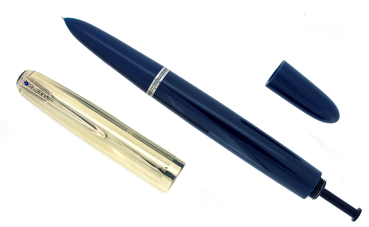 1944 PARKER 51 CEDAR BLUE VACUMATIC FOUNTAIN PEN MEDIUM NIB RESTORED OFFERED BY ANTIQUE DIGGER