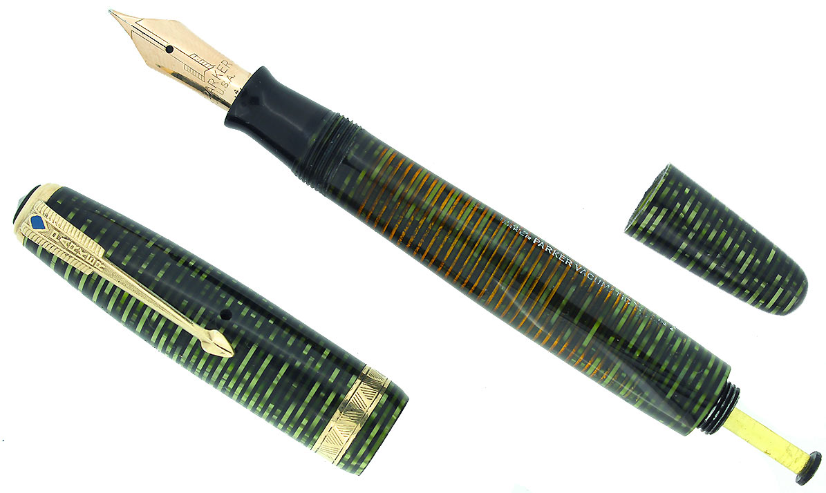 1944 PARKER EMERALD PEARL VACUMATIC MAJOR FOUNTAIN PEN F-BB FLEX NIB RESTORED OFFERED BY ANTIQUE DIGGER