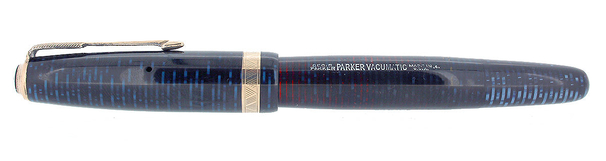 1944 PARKER VACUMATIC AZURE PEARL DOUBLE IMPRINT ERROR FOUNTAIN PEN RESTORED OFFERED BY ANTIQUE DIGGER