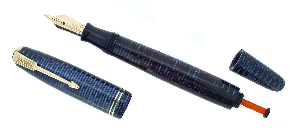 1944 PARKER AZURE PEARL VACUMATIC FOUNTAIN PEN GORGEOUS COLOR RESTORED OFFERED BY ANTIQUE DIGGER