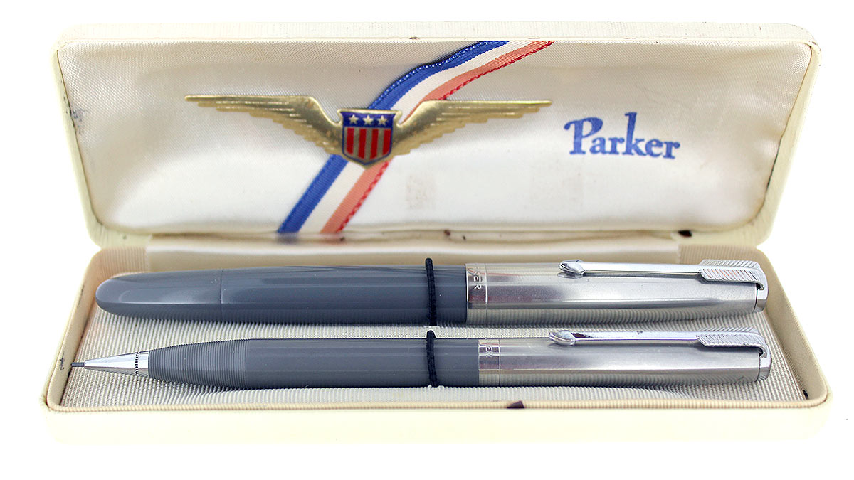 1945 PARKER 51 VACUMATIC DOVE GRAY FOUNTAIN PEN & PENCIL SET WITH BOX RESTORED OFFERED BY ANTIQUE DIGGER