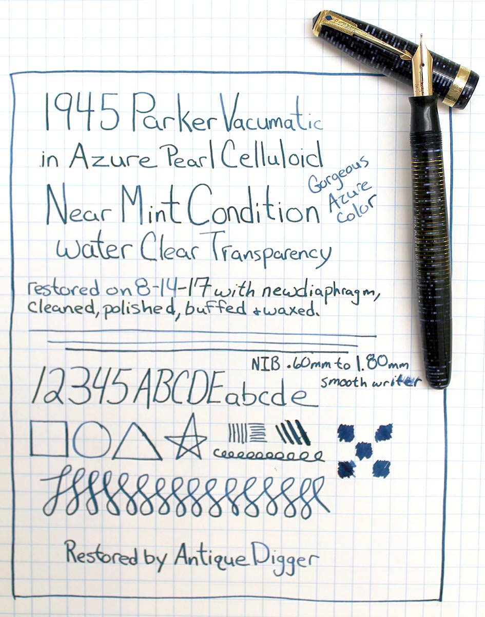1945 PARKER AZURE PEARL VACUMATIC MAJOR FOUNTAIN PEN M to BBB FLEX NIB RESTORED OFFERED BY ANTIQUE DIGGER