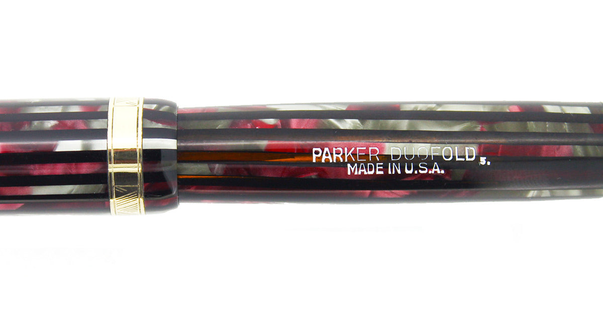 1945 PARKER STRIPED SENIOR DUOFOLD DUSTY ROSE CELLULOID FOUNTAIN PEN IN RESTORED CONDITION OFFERED BY ANTIQUE DIGGER