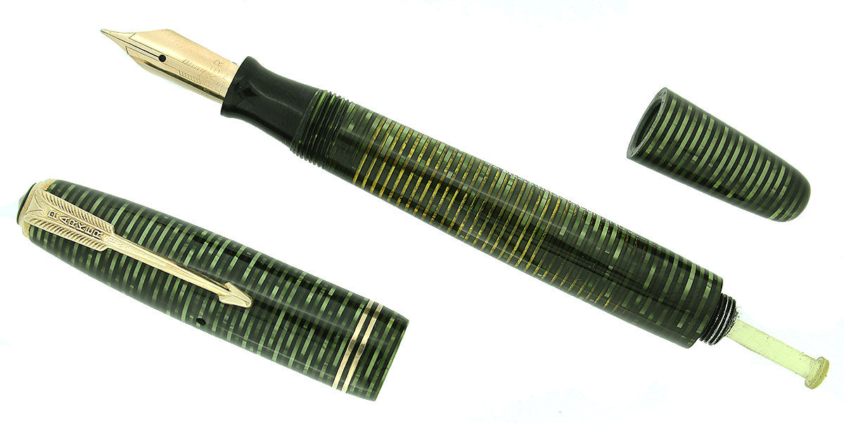 1945 PARKER EMERALD PEARL VACUMATIC FOUNTAIN PEN RESTORED GORGEOUS COLOR OFFERED BY ANTIQUE DIGGER