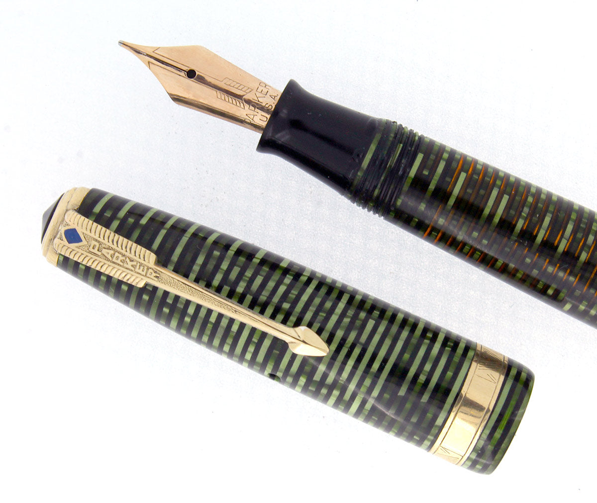1945 PARKER EMERALD PEARL DOUBLE JEWEL VACUMATIC FOUNTAIN PEN RESTORED OFFERED BY ANTIQUE DIGGER
