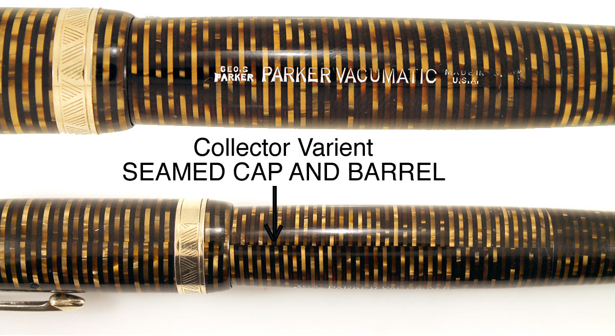 1945 PARKER GOLDEN PEARL VACUMATIC MAJOR FOUNTAIN PEN F to BB FLEX NIB WITH SEAMED CELLULOID RESTORED OFFERED BY ANTIQUE DIGGER