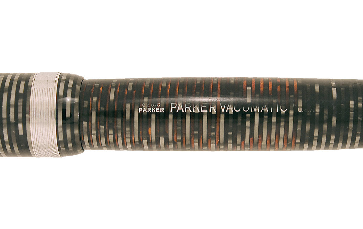 1945 PARKER SILVER PEARL VACUMATIC MAJOR FOUNTAIN PEN M to BB FLEX NIB RESTORED OFFERED BY ANTIQUE DIGGER