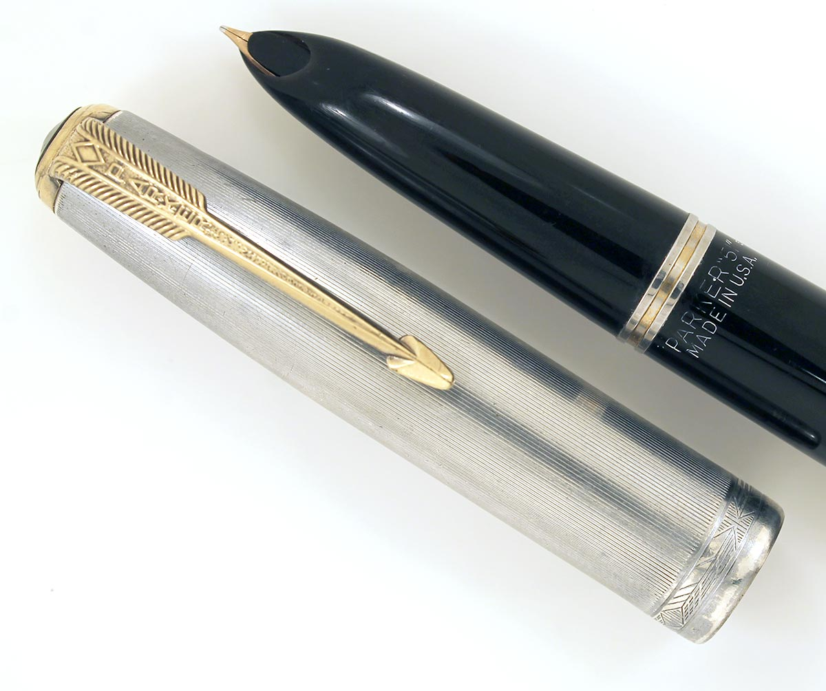 1945 PARKER 51 DOUBLE JEWEL FOUNTAIN PEN WITH STERLING CAP AND 14K BLIND CAP TASSEL IN RESTORED CONDITION OFFERED BY ANTIQUE DIGGER