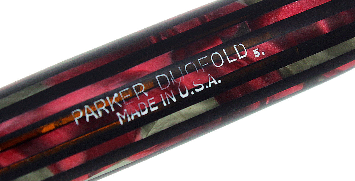1945 PARKER SENIOR DUOFOLD DUSTY ROSE CELLULOID FOUNTAIN PEN M-B NIB RESTORED OFFERED BY ANTIQUE DIGGER