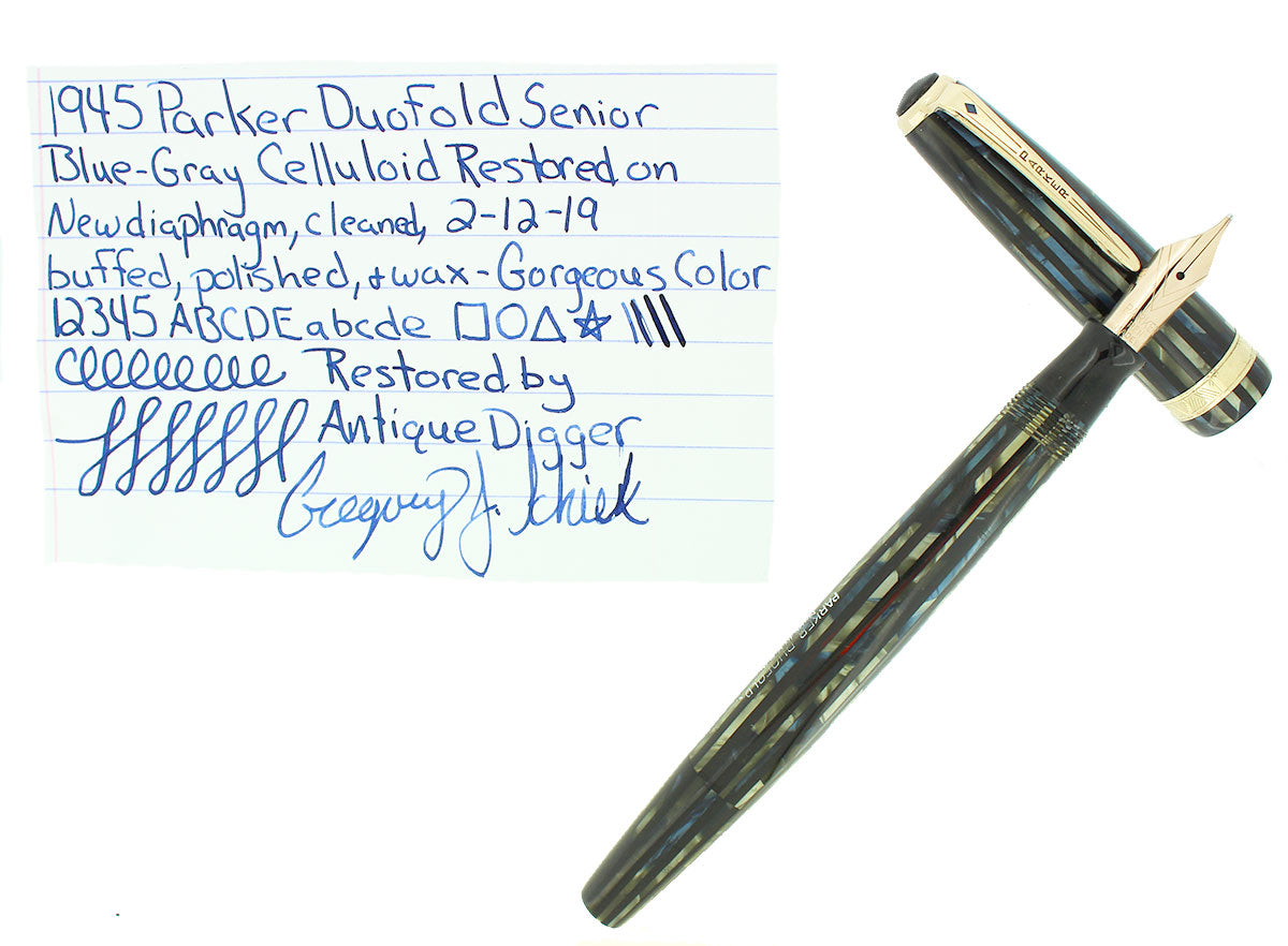1946 PARKER SENIOR DUOFOLD STRIPED BLUE GRAY CELLULOID FOUNTAIN PEN RESTORED OFFERED BY ANTIQUE DIGGER