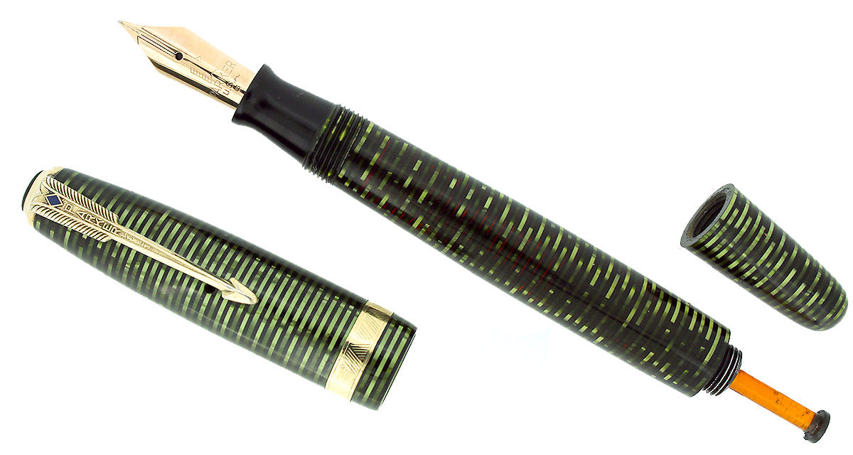 1945 PARKER EMERALD PEARL VACUMATIC MAJOR FOUNTAIN PEN M-B FLEX NIB RESTORED OFFERED BY ANTIQUE DIGGER