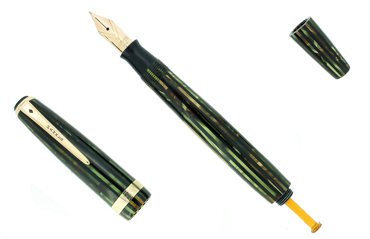1945 PARKER SENIOR STRIPED DUOFOLD GREEN GOLD CELLULOID FOUNTAIN PEN RESTORED OFFERED BY ANTIQUE DIGGER
