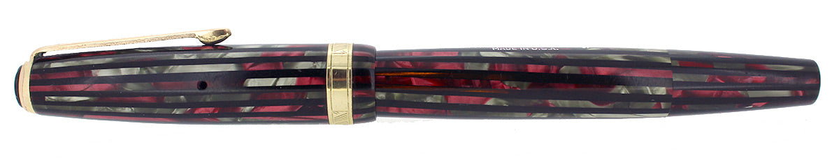1945 SENIOR PARKER DUOFOLD STRIPED DUSTY ROSE CELLULOID FOUNTAIN PEN RESTORED OFFERED BY ANTIQUE DIGGER