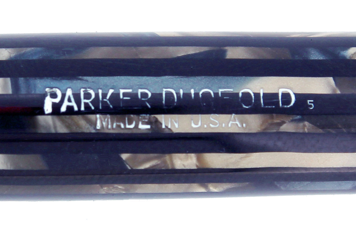 1945 PARKER SENIOR STRIPED DUOFOLD BLUE GRAY CELLULOID FOUNTAIN PEN RESTORED OFFERED BY ANTIQUE DIGGER