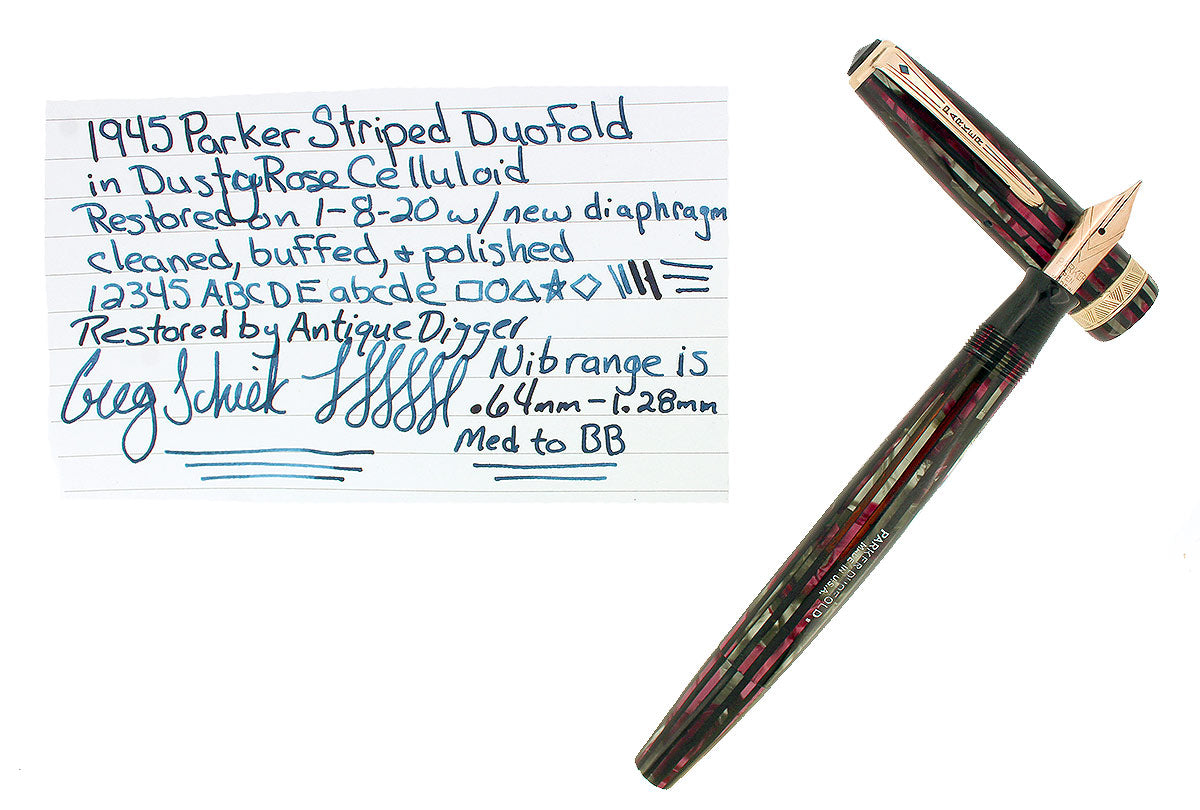 1945 PARKER SENIOR DUOFOLD DUSTY ROSE CELLULOID FOUNTAIN PEN M-BB NIB RESTORED OFFERED BY ANTIQUE DIGGER
