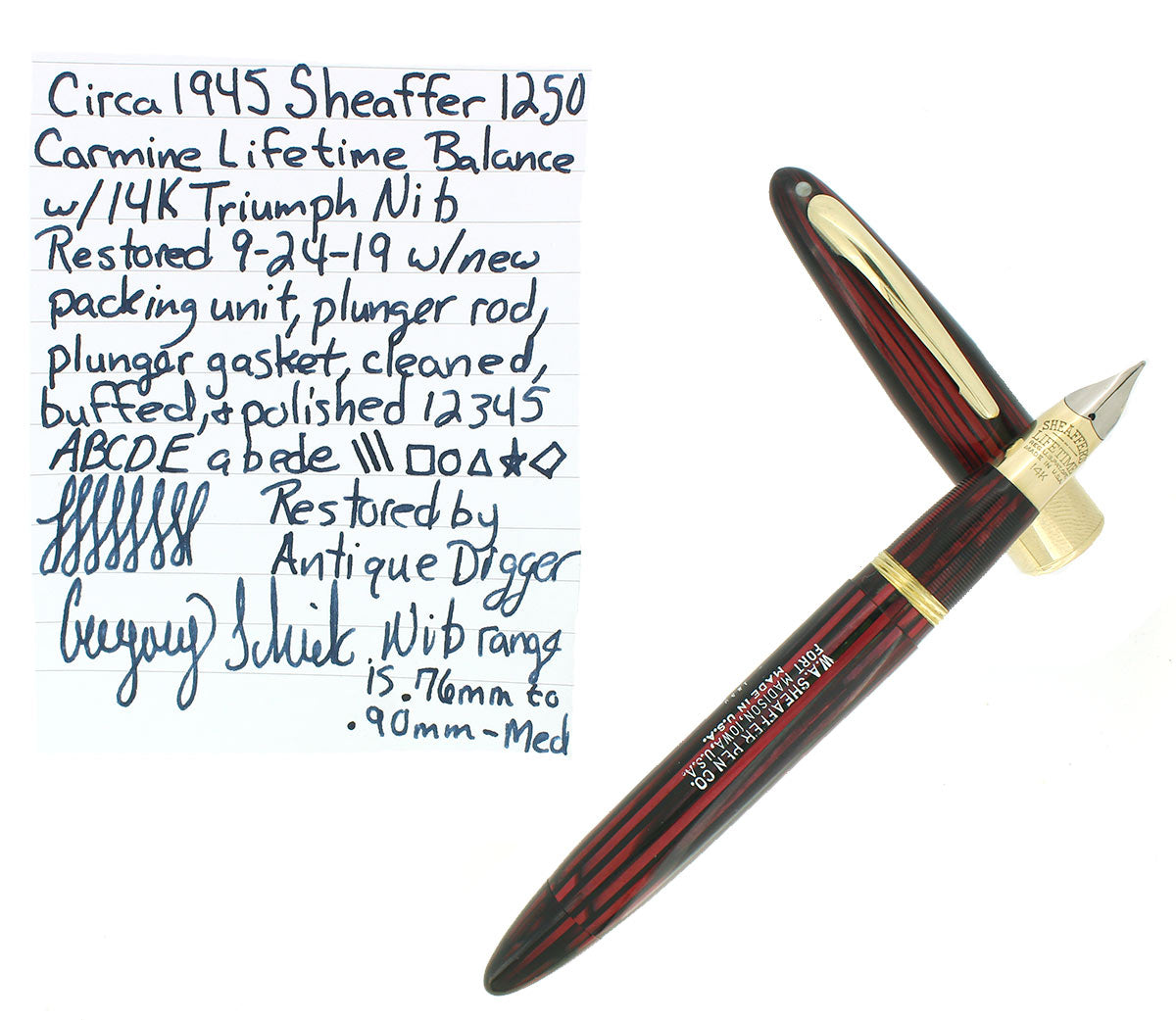 C1945 SHEAFFER CARMINE LIFETIME BALANCE 1250 TRIUMPH NIB FOUNTAIN PEN RESTORED OFFERED BY ANTIQUE DIGGER