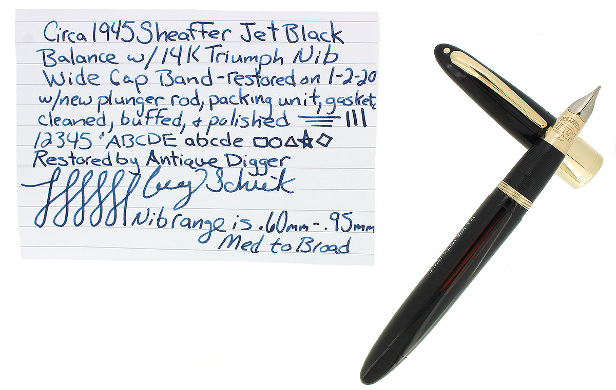 C1945 SHEAFFER LIFETIME 1250 JET BLACK FOUNTAIN PEN 14K TRIUMPH NIB RESTORED OFFERED BY ANTIQUE DIGGER