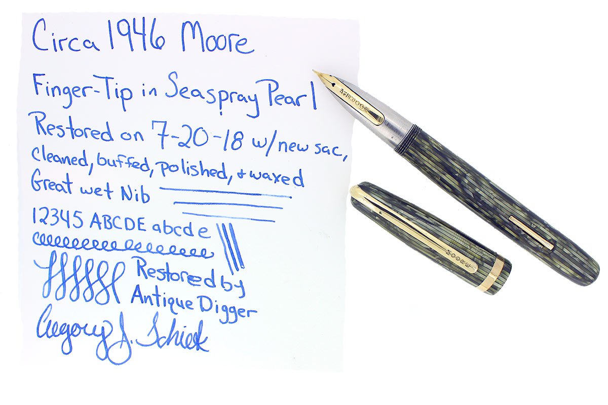 CIRCA 1946 MOORE 96B FINGERTIP FOUNTAIN PEN SEASPRAY PEARL CELLULOID RESTORED OFFERED BY ANTIQUE DIGGER