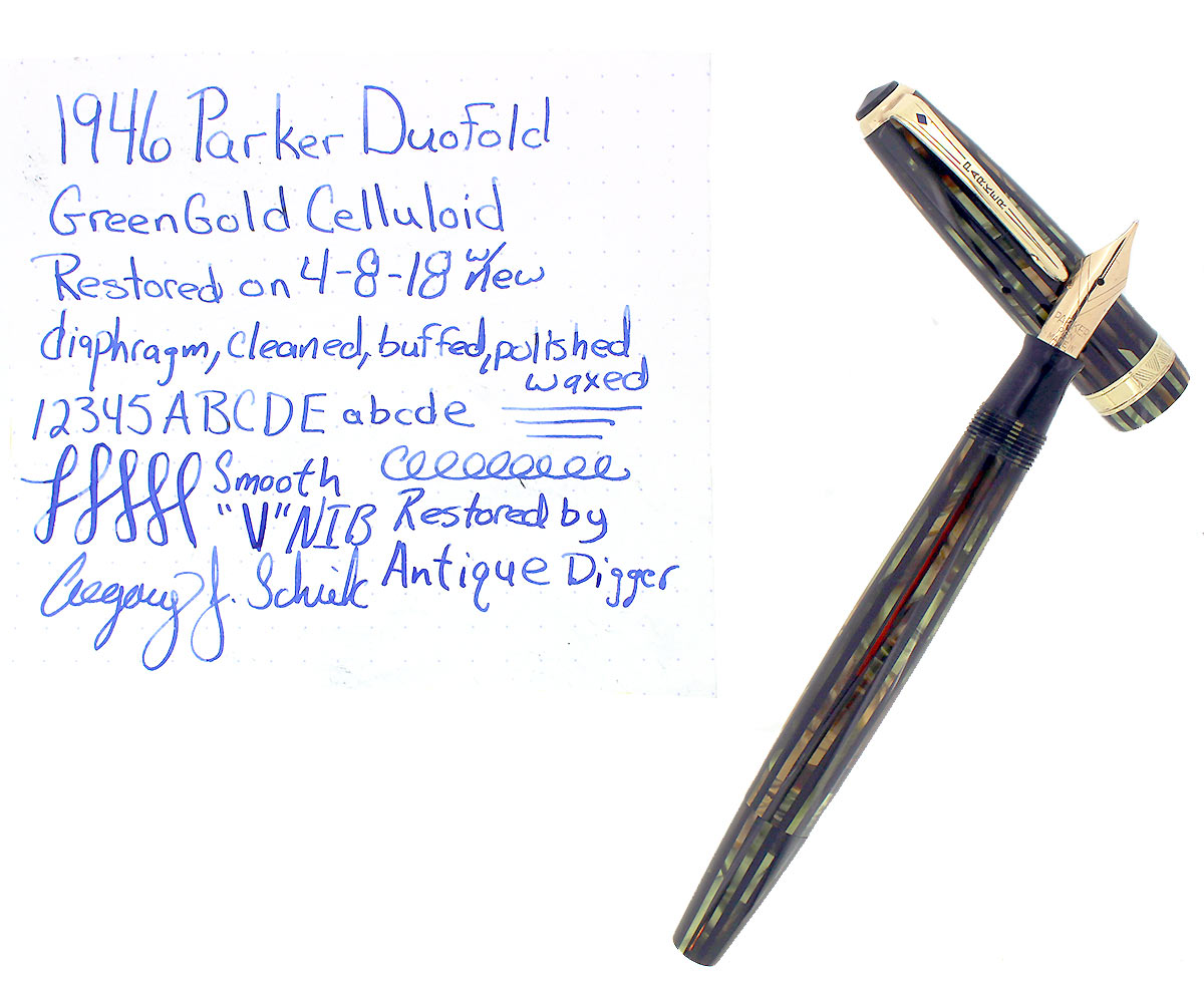 RESTORED 1946 PARKER DUOFOLD SENIOR FOUNTAIN PEN GREEN GOLD CELLULOID WITH V NIB OFFERED BY ANTIQUE DIGGER