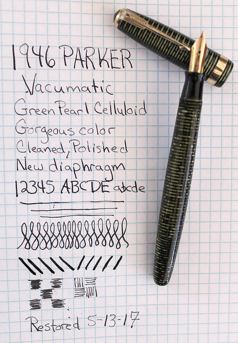 RESTORED 1946 PARKER EMERALD PEARL VACUMATIC MAJOR FOUNTAIN PEN WITH F to BB SEMI-FLEXIBLE NIB