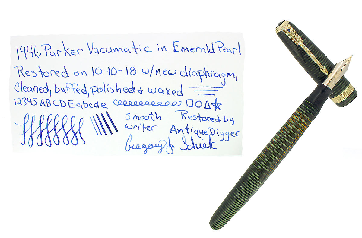 1946 PARKER EMERALD PEARL VACUMATIC MAJOR FOUNTAIN PEN XF-B FLEX NIB RESTORED OFFERED BY ANTIQUE DIGGER
