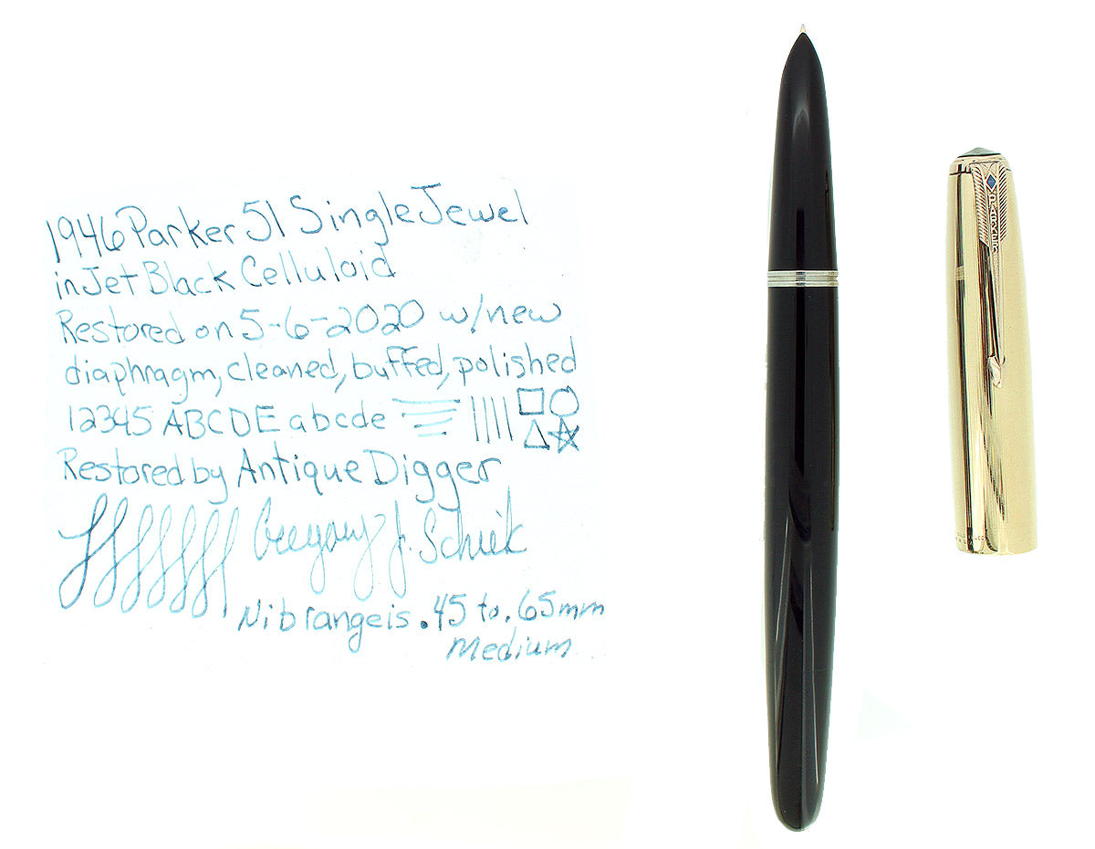 1946 PARKER 51 INDIA BLACK VACUMATIC NIB FOUNTAIN PEN RESTORED OFFERED BY ANTIQUE DIGGER