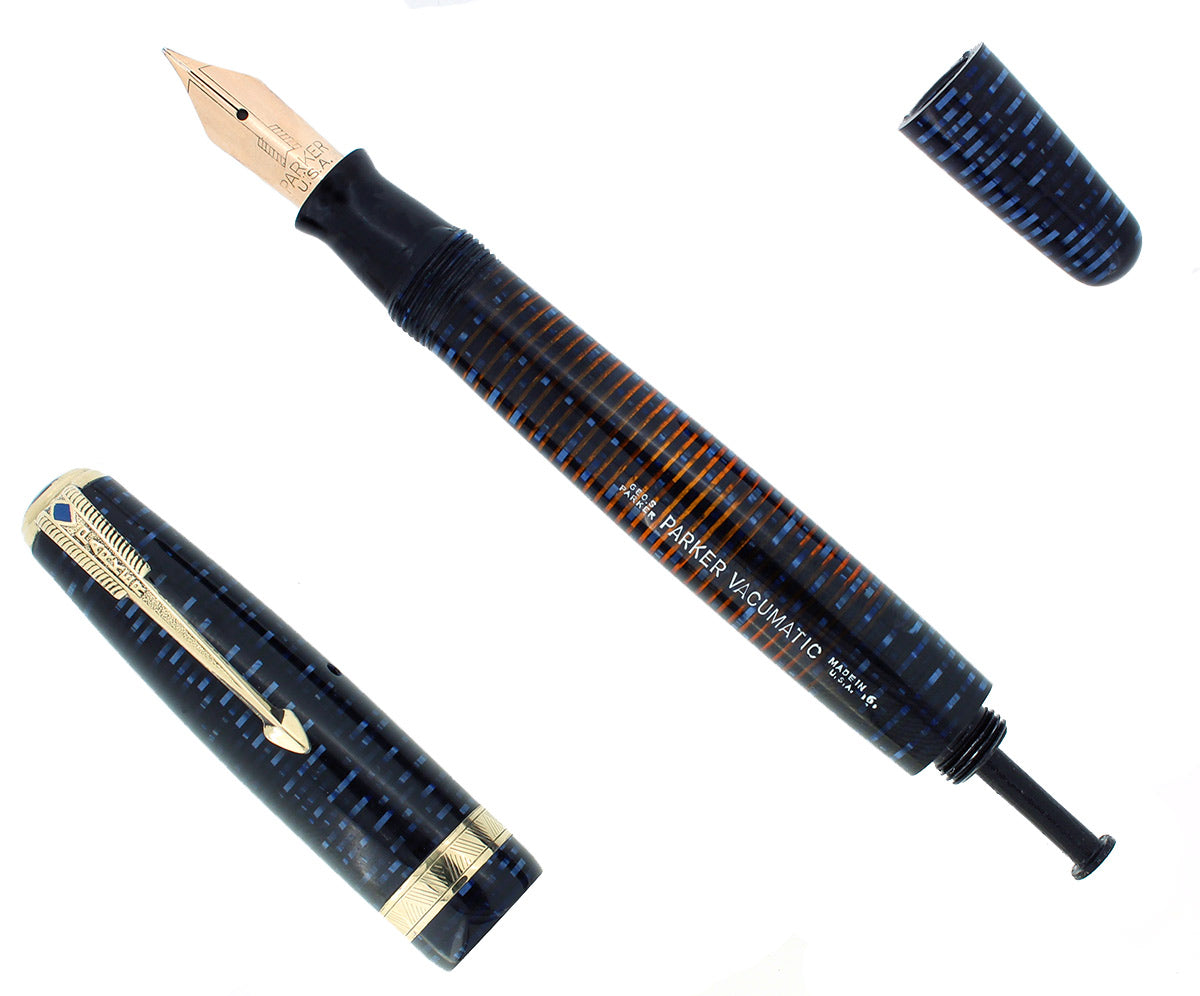 1946 PARKER AZURE PEARL VACUMATIC MAJOR FOUNTAIN PEN RESTORED OFFERED BY ANTIQUE DIGGER