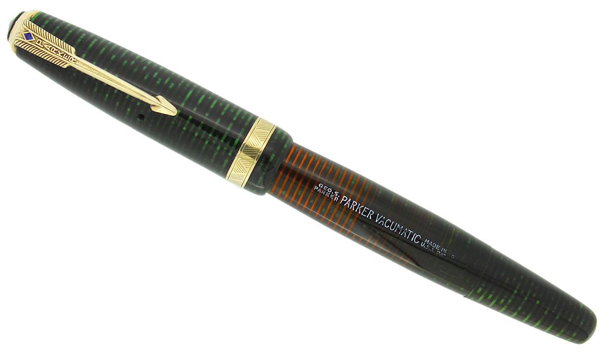 1946 PARKER EMERALD PEARL VACUMATIC MAJOR FOUNTAIN PEN RESTORED FABULOUS COLOR OFFERED BY ANTIQUE DIGGER