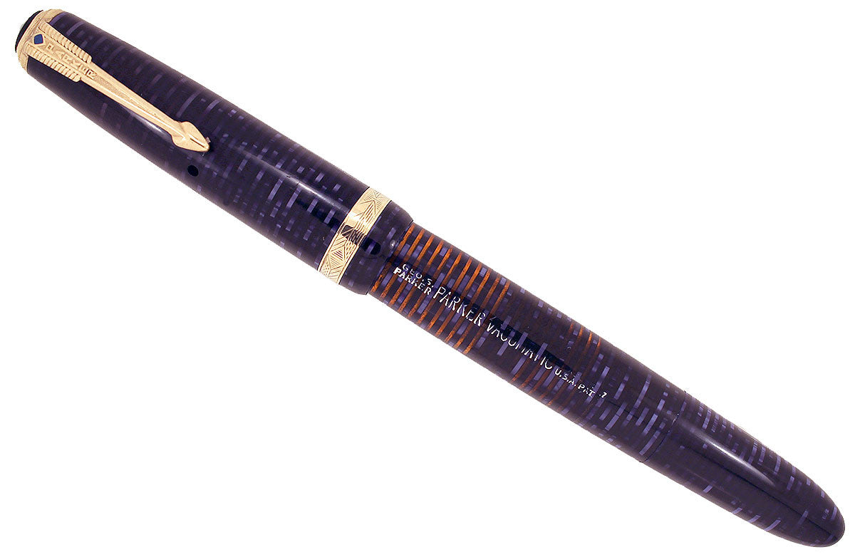 1947 PARKER BLUE / AZURE PEARL VACUMATIC FOUNTAIN PEN RESTORED OFFERED BY ANTIQUE DIGGER