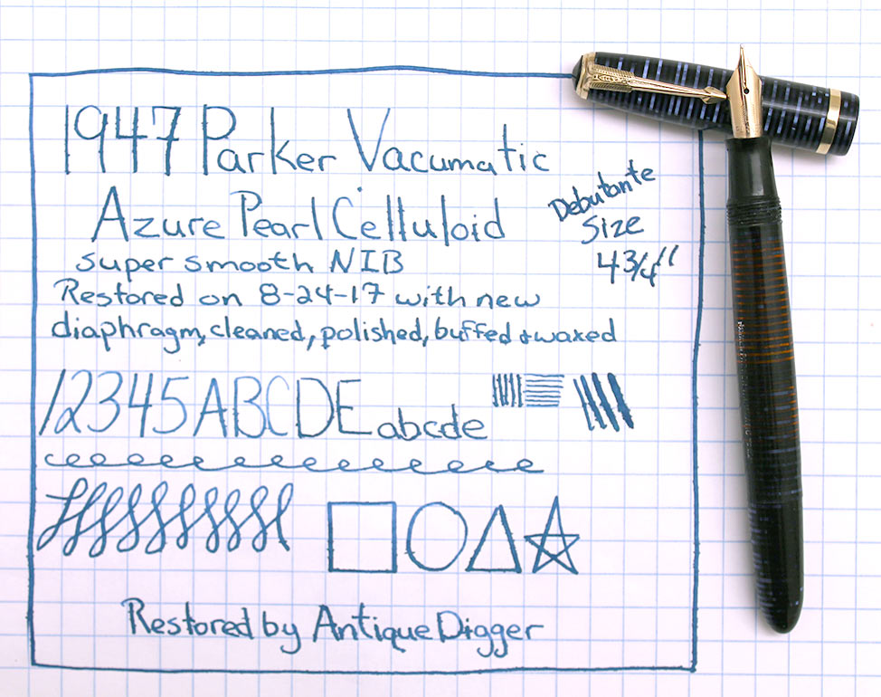 1947 PARKER AZURE BLUE PEARL VACUMATIC DEBUTANTE FOUNTAIN PEN F - BB NIB RESTORED OFFERED BY ANTIQUE DIGGER